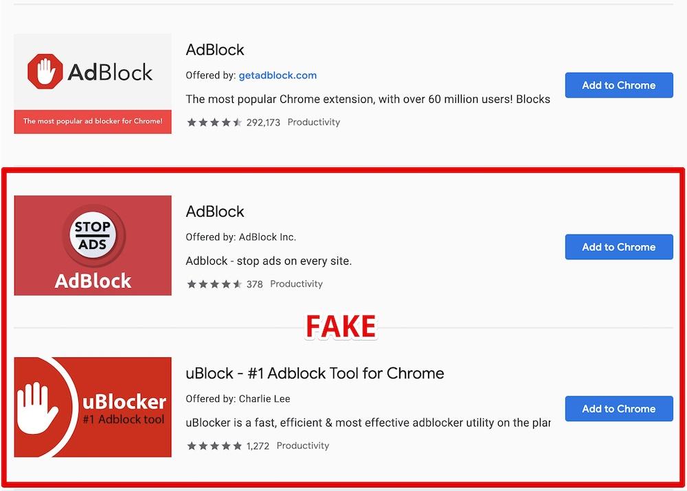 fake blockers chrome store