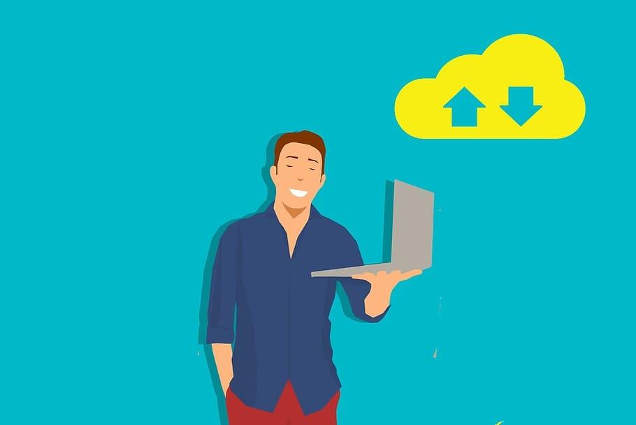 laptop user arrow cloud