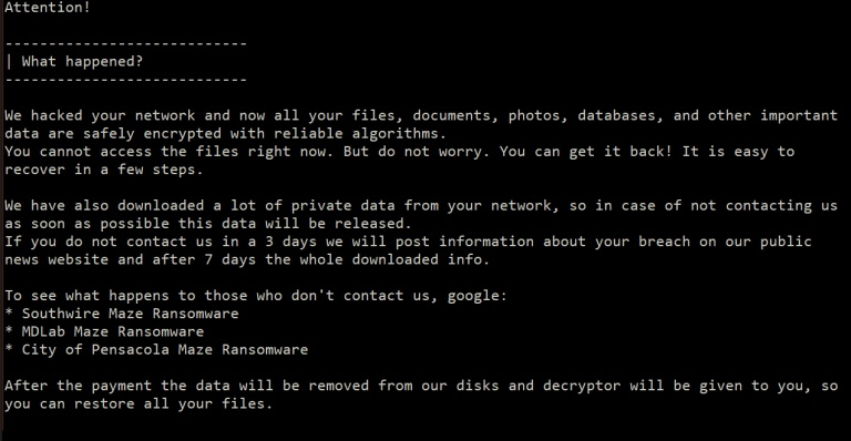 maze ransom note