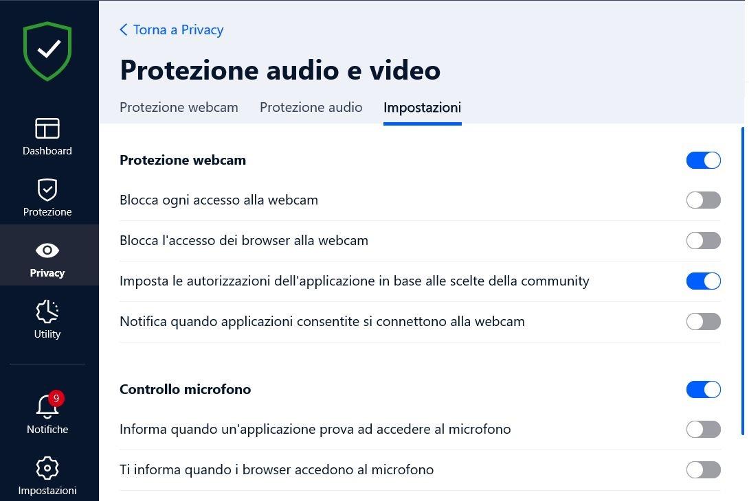 protezione audio e video